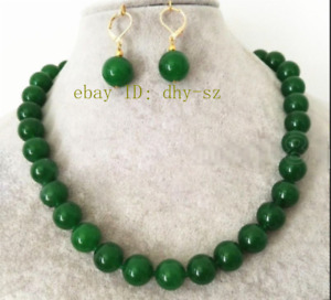 """Natural 8-12mm Green Jade Round Gemstone Beads Necklace 18"""" Earring Set AAA"""