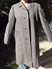 38 men HARRIS TWEED TOP COAT extra long pure SCOTTISH wool jacket trench vintage
