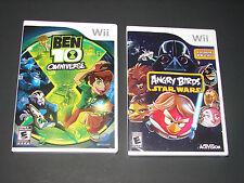 BEN 10 OMNIVERSE + ANGRY BIRDS STAR WARS  (2 Games KIDS Nintendo Wii Lot)