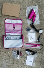 Chi Miss Universe Travel Tool Kit:Dryer, Flat Iron, Clips, Brush, Oil, pink Bag.