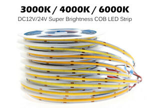 DC 12V 24V Premium COB LED Strip High Density Chips Warm Natural White Lights 5m