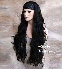 Jet BLACK 3/4 Fall Long WAVY Hair Piece Half wig cap  Extra long Hairpiece  #1