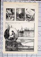 1886 Aufdruck Zeichnung Verschiedene Beispiele Landschaft Schiffe Häuschen
