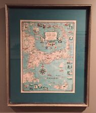 Vintage 50's Midcentury CAPE COD NANTUCKET MAP Print Clara Chase Cartograph