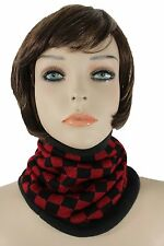 Women Scarf Turtle Neck Warmer Head Cover Outdoor Face Mask Sport Red Checkered