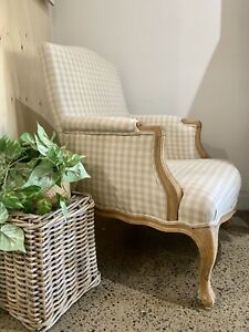 Beach House French Style Hamptons Armchair Carved Frame Neutral Tones Pair Avail