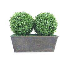 Artificial Double Boxwood Topiary Balls - RusticTin Window Box Planter (35cm)
