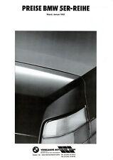 BMW 5er Preisliste 1992 1/92 price list prijslijst liste des prix listino prezzi