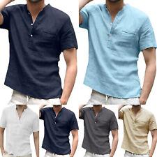 Men Plain V Neck Henley Short Sleeve Shirt T-Shirt Summer Casual Soft Top