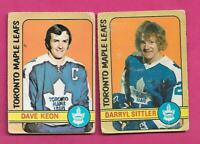 1972-73 OPC LEAFS DARRYL SITTLER + DAVE KEON  GOOD CARD (INV# D1233)
