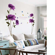 Removable Purple Rose Flower Wall Stickers Mural DIY Art Decal Home Living Room