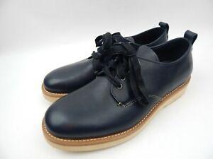Coach Navy Blue Derby Leather Blucher Dark Saddle Dress Shoes Men's sz 11 D