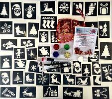 Kit de Tatuaje Purpurina Navidad 40 Stencils Brillos Pegamento UK Made Profes Calidad