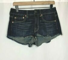 American Eagle Outfitters Cut Off Jean Shorts Dark Wash Whiskered Womens Size 6