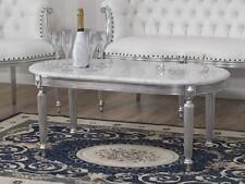 Tavolino da salotto Isabelle stile Barocco Moderno foglia argento marmo bianco C