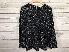 Michael Kors Womens Black Star Print Bell Sleeve Blouse Shirt Size Medium NWT