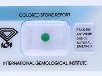 natürlicher 0,65 Karat Smaragd Rund green IGI Expertise
