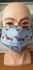 Face Mask - Sausage/Daschund Dog - Blue - plus Filter