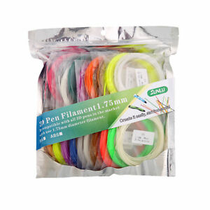 3D Pen Printing Refill ABS Filament 1.75mm 10 Colors 5M each include 2 Luminous