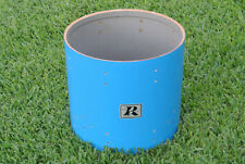 """1970's ROGERS 18"""" PACIFIC BLUE FLOOR TOM SHELL - EASY BASS DRUM CONVERSION! E347"""