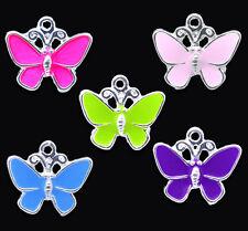 20 Mixte Pendentifs Papillon Émail Argenté 19x17mm