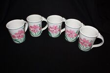 Set of 5 Neher Art Pottery Hand Painted Floral Coffee Beverage Mug, Signed