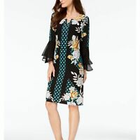 JM Collection Womens Dress Sheath Scoop Neck 3/4 Sleeve Floral Black PM New