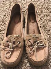 Womens Sperry Top-Sider Angelfish Beige Leopard Boat Shoes, 9102341, Sz 6.5