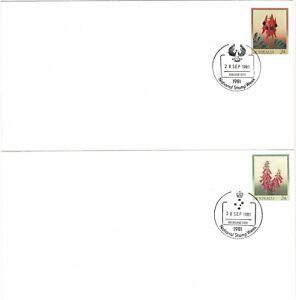 AUSTRALIA 1981 24c PRE STAMPED LARGE ENVELOPES X 2 FLOWERS NATIONAL STAMP WEEK