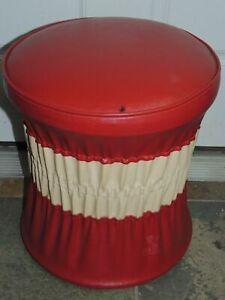 "Round Footstool 16"" Red & White Naugahyde Vinyl Mid Century Retro Ottoman burn"