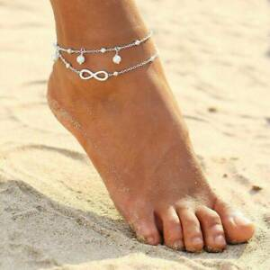 Womens Ankle Bracelet 925 Sterling Silver Anklet Foot Chain Beach Boho  Beads🌟