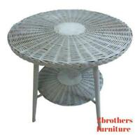 Antique Victorian Wicker Patio Porch Center Serving Dinette Table