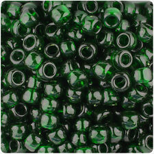 500 Dark Green Transparent 9x6mm Barrel Pony Beads Made inthe USA by The Beadery