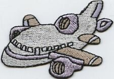 Iron On Applique Embroidered Patch White Gray and Blue Jet Plane Airplane
