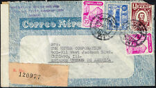 3113 PERU TO US REGISTERED CENSORED AIR MAIL COVER 1942 LIMA - CHICAGO, IL