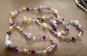 """44"""" Custom Made Magnetic Interchangeable Necklace Bracelet Set-Choose Gemstones"""