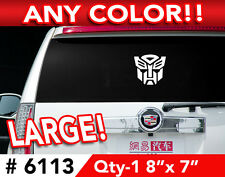 """TRANSFORMERS AUTOBOT LARGE DECAL STICKER 8""""w x 7""""h  Any 1 Color"""