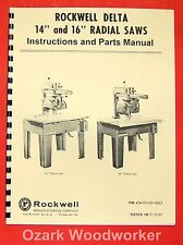 """ROCKWELL 14"""" & 16"""" Radial Arm Saw Parts Manual 0594"""