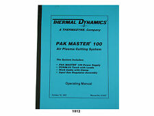 Thermal Dynamics Pakmaster 100 Plasma Cutter  Operating Manual *1012