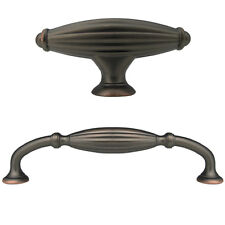 """Oil Rubbed Bronze Flute Kitchen Bathroom  Cabinet Drawer Knobs and 5"""" pull"""