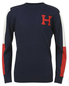 "Tommy Hilfiger Boys Swim Navy Signature ""H"" Crew-Neck Pullover Sweater"