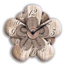 Orologio da parete Flower 30x30 cm Bianco a Fiore Funzionamento a batteria