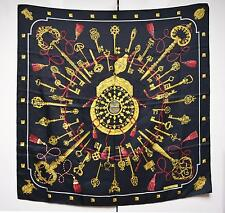 Hermes Hermès Les Clefs Cles Scarf Silk Twill Foulard Sciarpa Authentic Care Tag