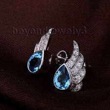 Solid 18k White Gold Diamond & Blue Topaz Engagement Wedding Gemstone Earrings