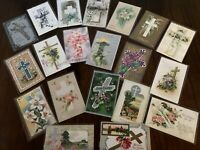 "LOT of 20 BEAUTIFUL Vintage~"" EASTER CROSSES"" with Flowers CROSS POSTCARDS-g154"