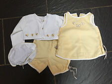 VERTBAUDET COLIN COLLINE GIRLS YELLOW TOP TROUSERS CARDIGAN HAT 3-6 MONTHS