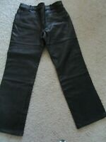 Men's HEIN GERICKE Leather Motorcycle Biker Jeans Pants Lined New Black 36 x 33