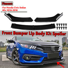 For 2016-2019 Honda Civic Hatchback Gloss Black Front Bumper Lip Spoiler Wing