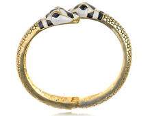 Golden Alloy Black White Enamel Twin Snake Cuff Bracelet Bangle Chic Bangle Cuff