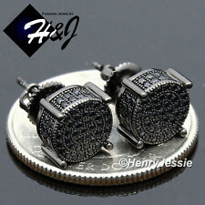 MEN 925 STERLING SILVER 8MM LAB DIAMOND BLACK ROUND SCREW BACK STUD EARRING*B142